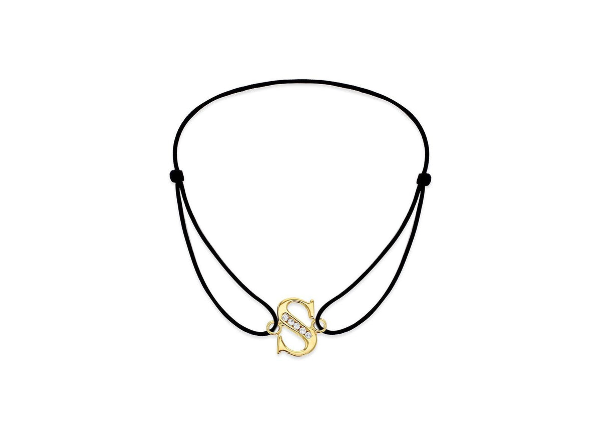 9ct Yellow Gold Initial 'S' with CZ & Adjustable Black Cord