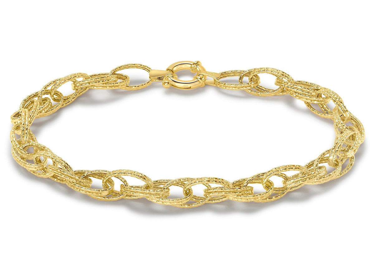 9ct Yellow Gold Textured Oval Link Bracelet