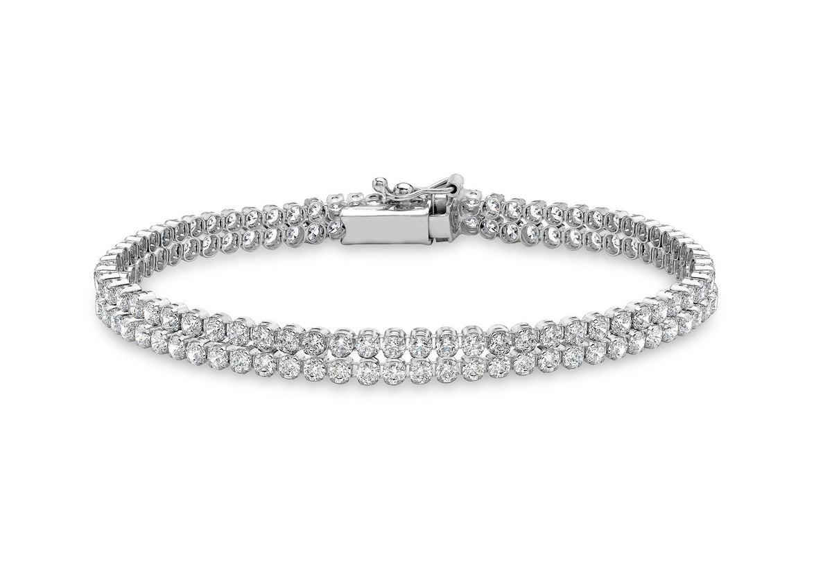 9ct White Gold Double Row CZ Bracelet