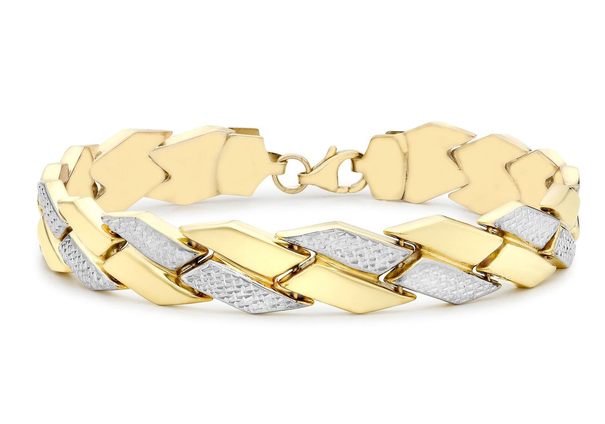 9ct Yellow & White Gold Diamond Cut Chevron Bracelet
