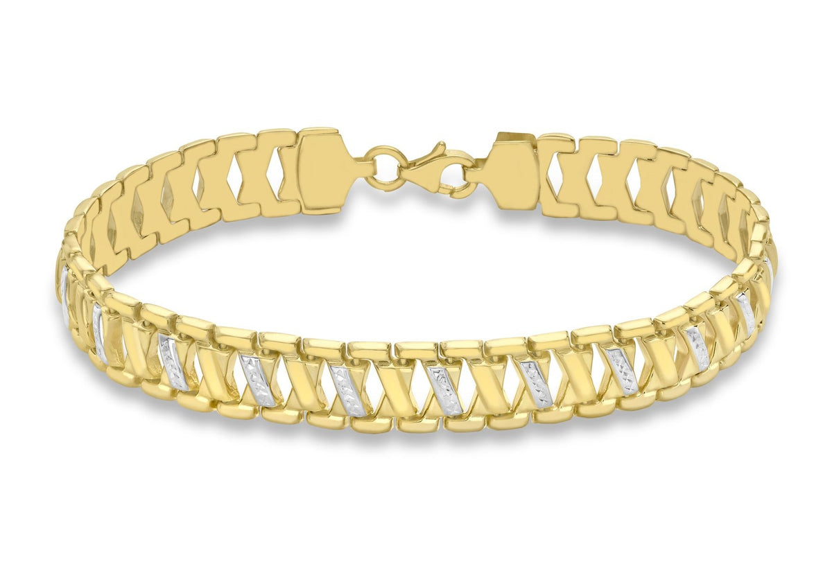 9ct Yellow and White Gold Diamond Cut Kiss Ladder Bracelet