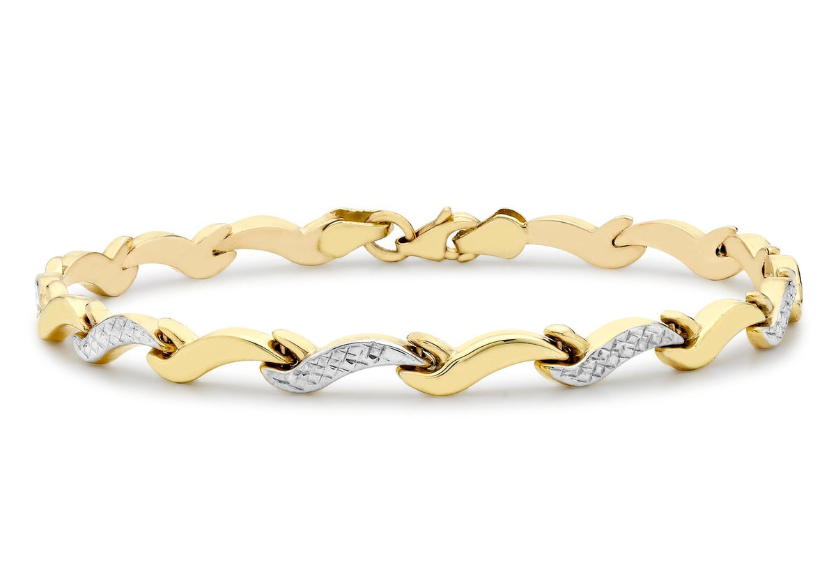 9ct Yellow and White Gold Diamond Cut Wave Link Bracelet