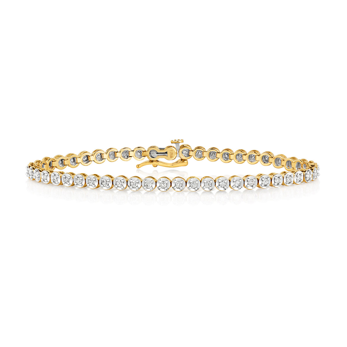 9ct Yellow Gold Diamond Tennis Bracelet 7'