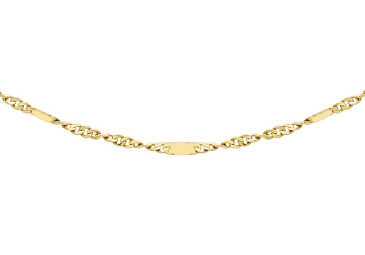 9ct Yellow Gold Twist Curb and Bar Chain 16""