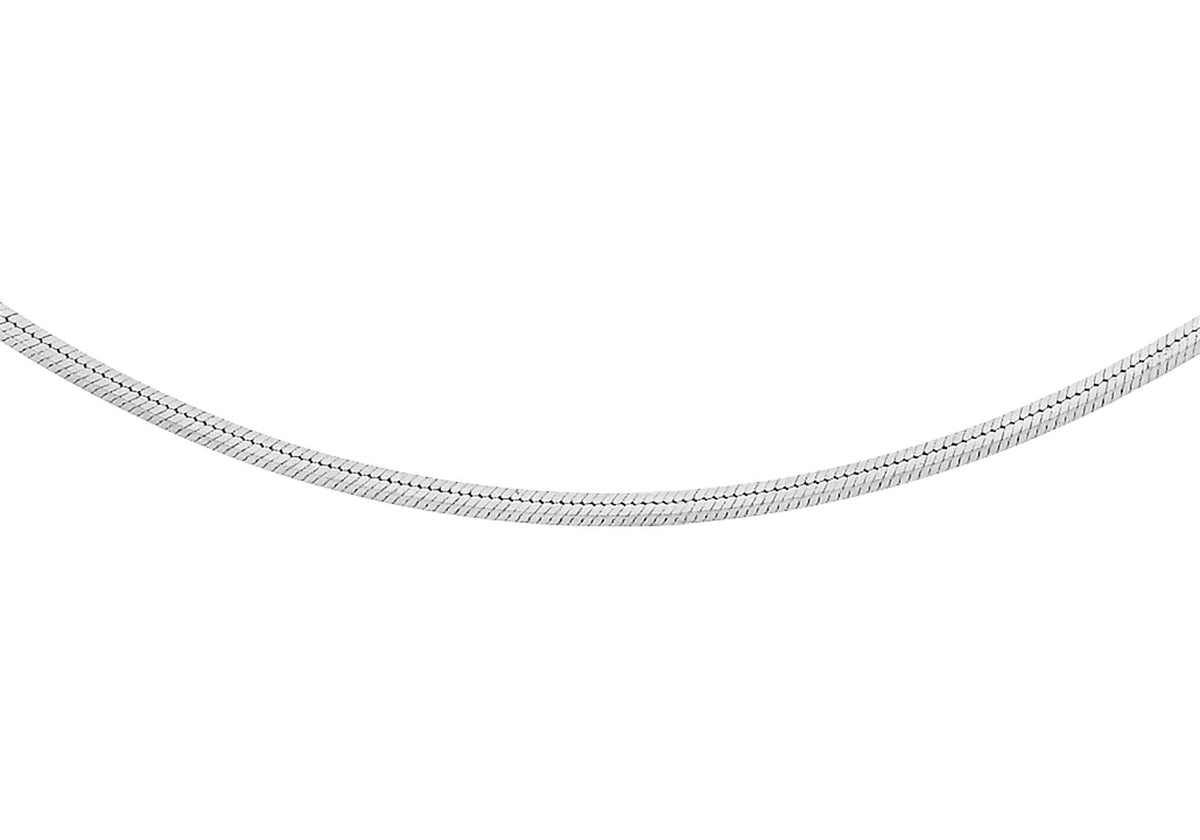 9ct White Gold Square Snake Chain 16""