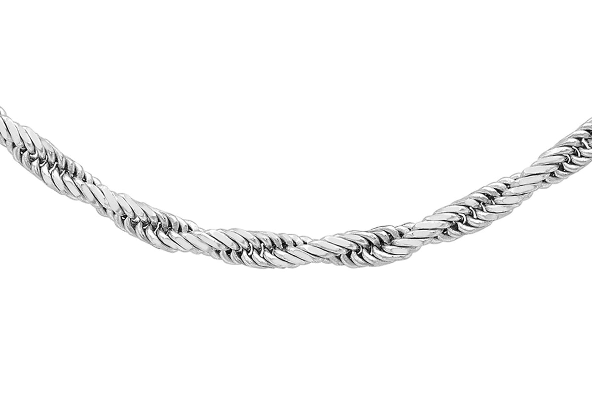 9ct White Gold Diamond Cut Twist Rope Chain 18""