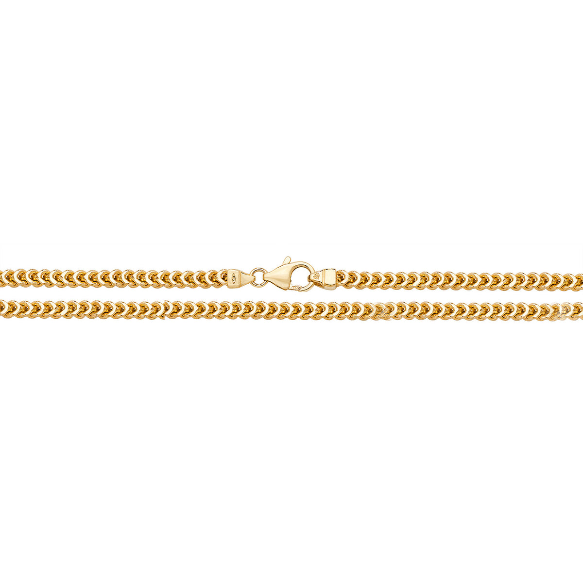 9ct Yellow Gold Square Franco Chain 22''