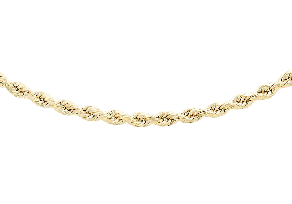 9ct Yellow Gold Semi Solid DC Rope chain 20""