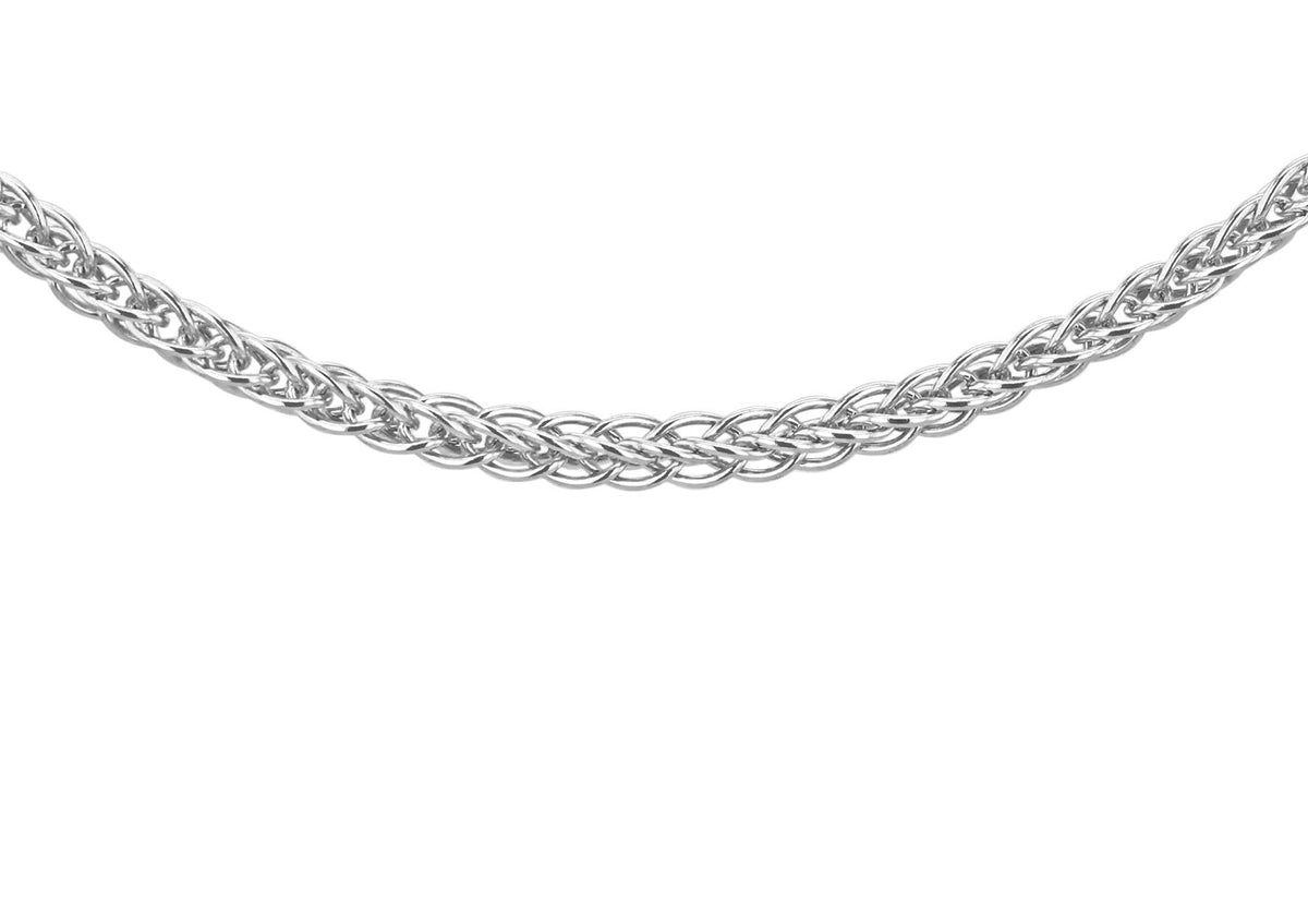 9ct White Gold Spiga Chain 22""