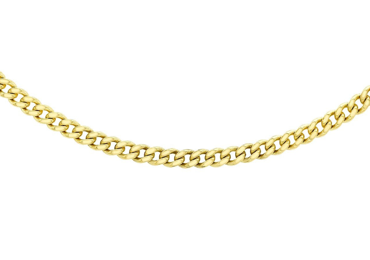 9ct Yellow Gold Diamond Cut Curb Chain Adjustable 16/18""