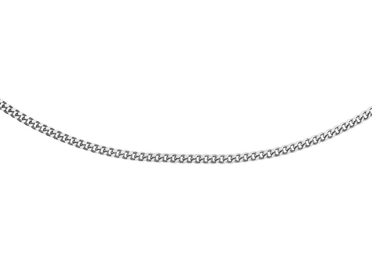 9ct White Gold Diamond Cut Curb Chain 18""