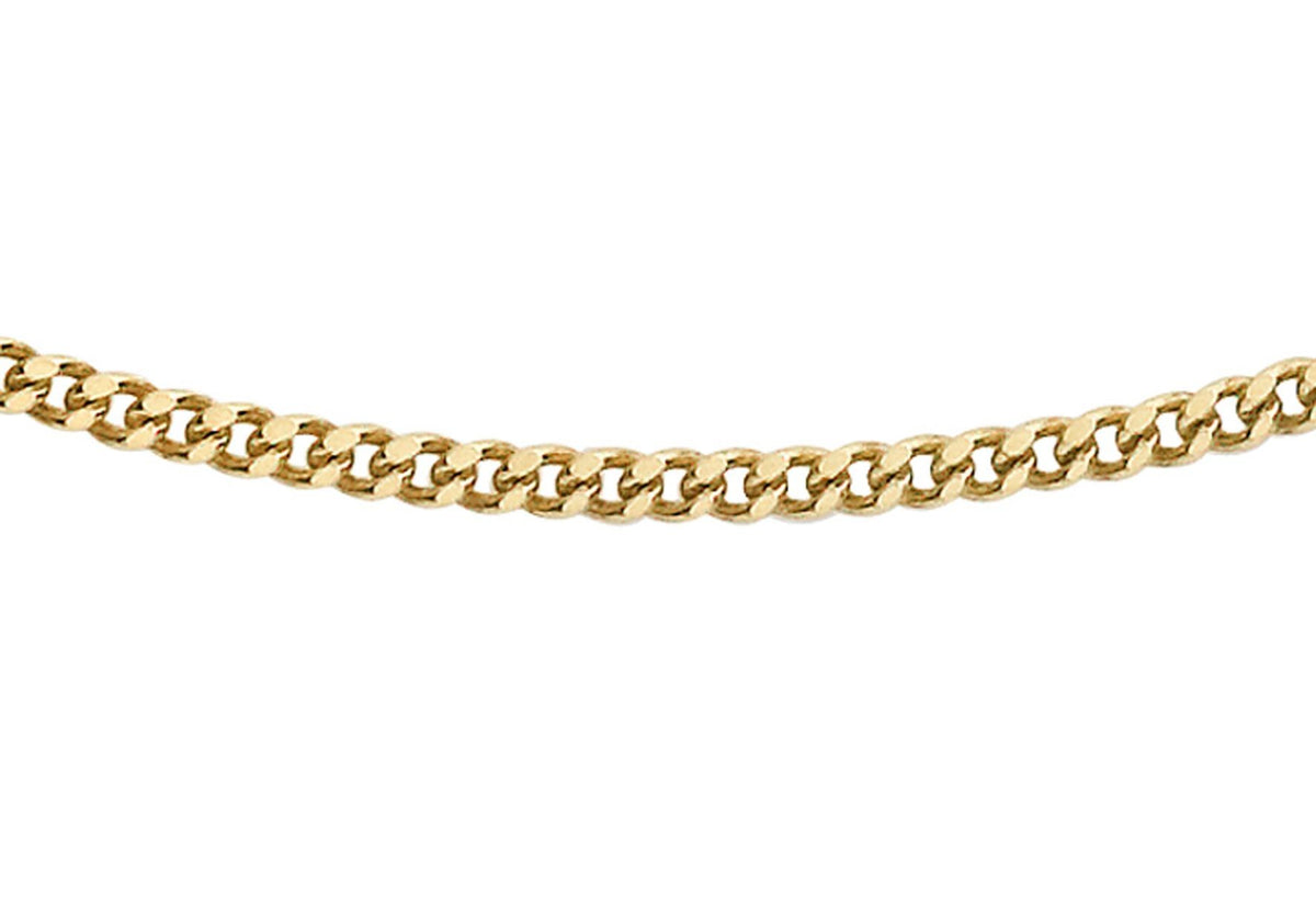 9ct Yellow Gold Diamond Cut Curb Chain 20""