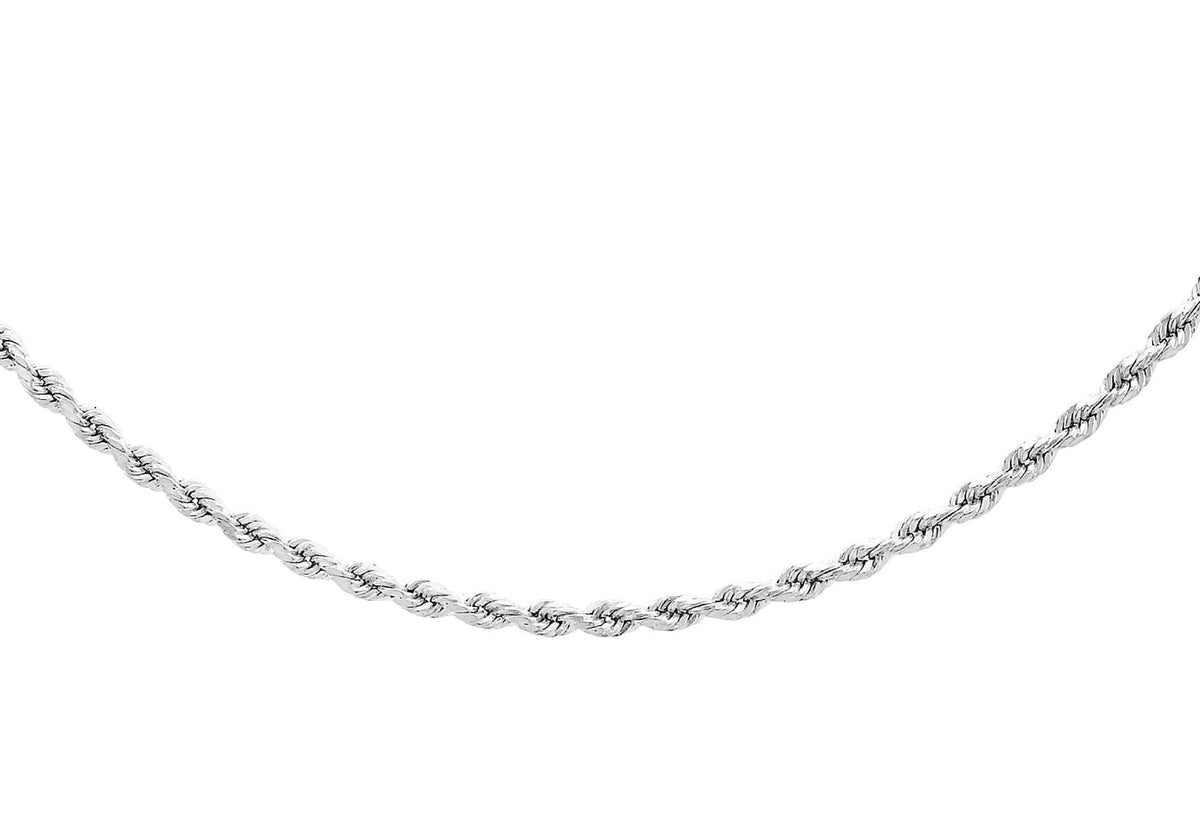 9ct White Gold Semi Solid Rope Chain 22""