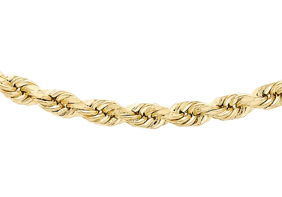 9ct Yellow Gold Semi Solid Rope Chain 16""