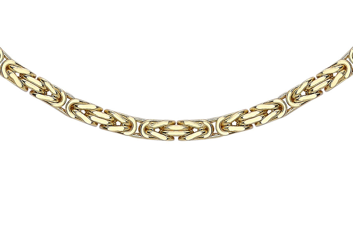 9ct Yellow Gold Square Byzantine Chain