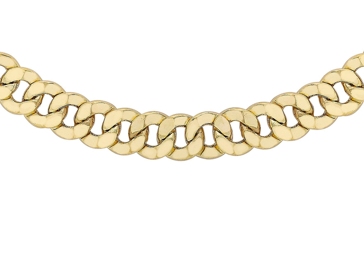 9ct Yellow Gold Diamond Cut Round Curb Chain