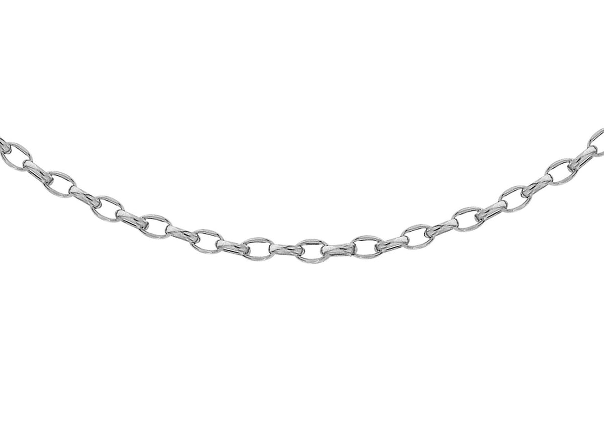 9ct White Gold Oval Diamond Cut Belcher Chain