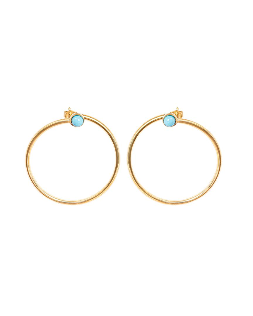 Single Turquoise Circle Earrings