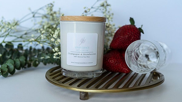 Your Grace Decor Champagne & Strawberries Candle
