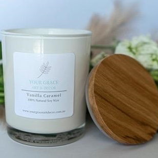 Your Grace Decor Vanilla Caramel Candle - Incredible Scent
