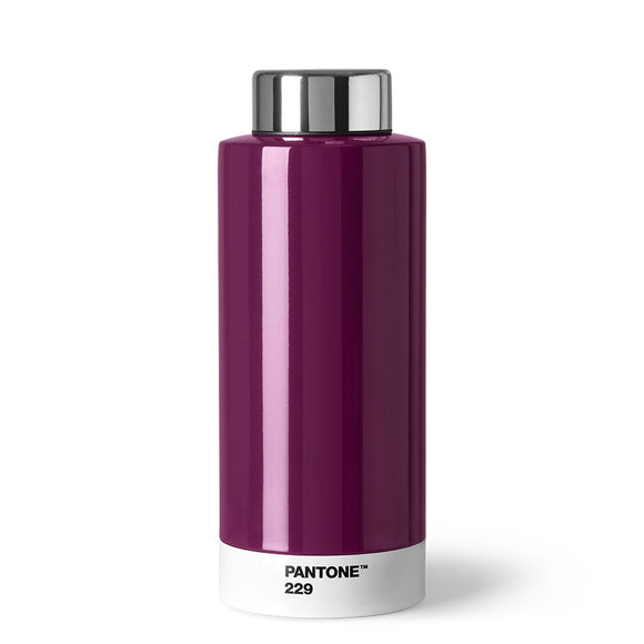 A shiny cylindrical bottle that is mainly dark purple with a white stripe around the bottom with 'Pantone 229' in small black capitals, and a silver lid.