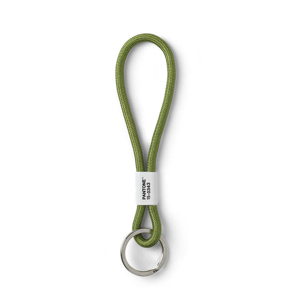 A light green rope wrist strap with a silver keyring on one side. The rope is split into a large and small loop by a white strip with 'Pantone 15-0343' in black letters.