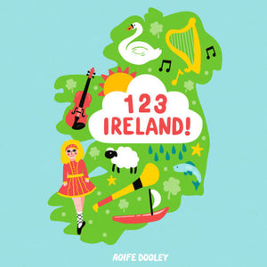 A light blue cover with an outline of Ireland in green in the centre. It is covered in cartoon images associated with Ireland such as an Irish dancer, harp and swan. The title is in red in a cloud in the centre.