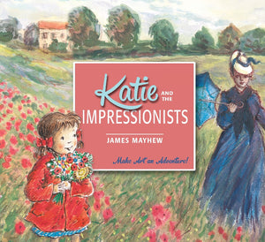 The background is an impressionist style painting of a rural landscape. There are red flowers in the foreground and a woman in blue holding an umbrella to the right. In front is a little girl in a red coat holding a bouquet of flowers. The title in in a large pale red square in the centre.