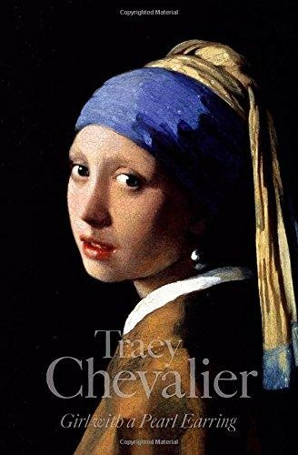 A painting of a young woman wearing a large pearl earring looking over her shoulder with a blue and yellow scarf wrapped around her head. The author and title are in pale grey at the bottom.