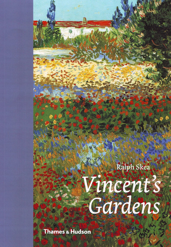 An impressionist painting of a colourful field of flowers with a house in the background. The title is in the bottom right in white letters. The blue binding wraps around to the front on the left of the cover.