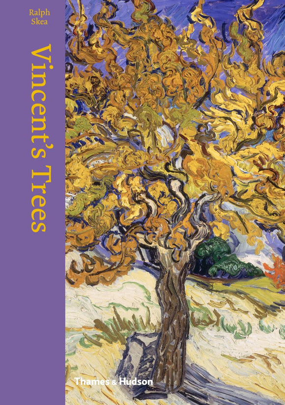 An impressionist painting of a near golden tree with visible brush strokes.  The title is in gold letters vertically down the left side in a purple bar that wraps round onto the binding.