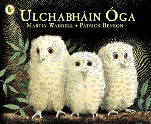 An illustration of three cream baby owls standing on a branch against a black background. The title is across the top in yellow.
