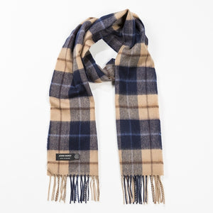 Navy Beige Brown Merino Scarf John Hanly