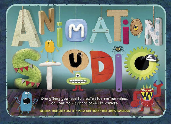 A blue box with 'Animation Studio' across most of the front. Each letter has a different look including cardboard cut outs, 3D blocks, clay, and a hairy letter.