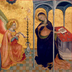 A gold, medieval style painting. On the left an angel kneels proffering a piece of scroll to a woman to the right. Standing under an arch, the woman is wrapped in a cloak looking down to the paper, holding her hand to her chest.