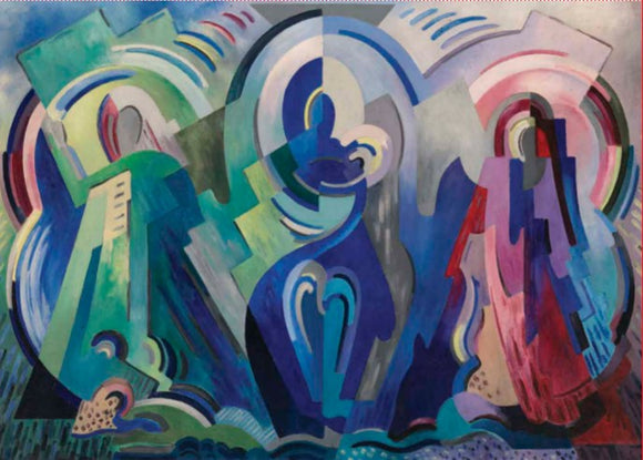 A flat, cubist painting of three figures. The left is green, the middle is blue and holds a baby, and the right pink and purple. They are made up of various shapes giving only the outline of people.