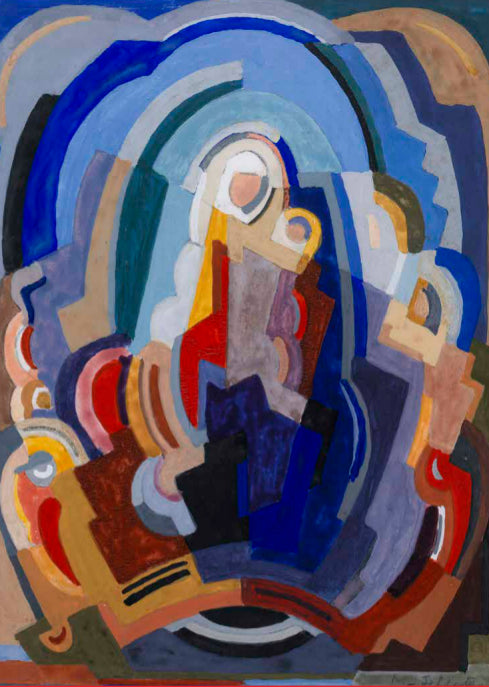 A flat, abstract painting of a woman holding a child. It is made up of various shapes in different colours, primarily shades of blue.