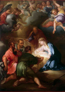 Mary holds a baby Jesus who is glowing in a bright light. Four men are gathered round with one offering a basket. A host of angels are visible in the sky above.