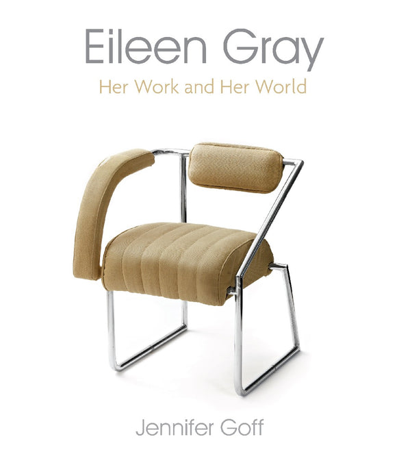 A white cover with a photography of a stylish metal and cream chair in the centre. Above is the title and subtitle in thin grey and cream letters.