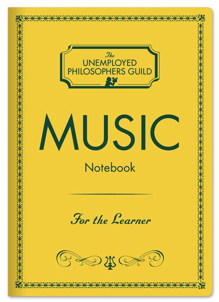 A yellow notebook cover with a simple border. In the centre is 'Music' in large black capital letters. At the bottom is 'For the Learner' in cursive. At the top is the brand logo.