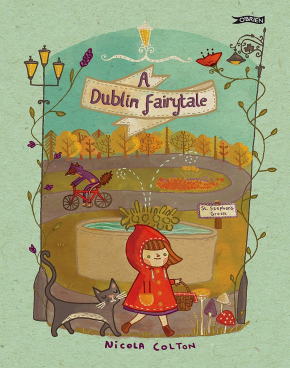 A sage green background with an illustration of a park taking up most of the page. At the front a little girl in a red hooded coat carries a basket and is followed by a cat. The title is written in a scroll at the top.