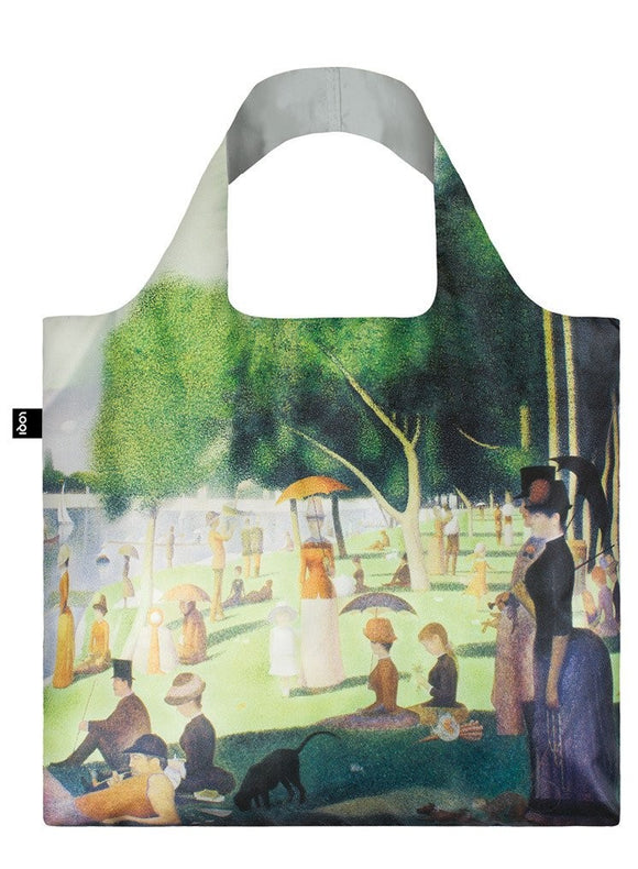 A square bag covered in a painting of a park with trees by a river, filled with finely dressed people, sitting, standing and walking in the sun. The lining of the handle is a matching grey.