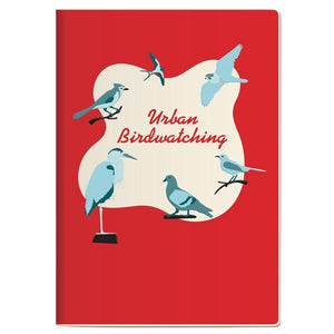 A red notebook with a white wavy blob shape near the centre. It has 'Urban Birdwatching' in red cursive in the centre of the blob that is bordered by different bird illustrations in shades of blue.