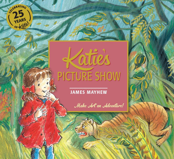 The background is a drawing of a jungle in shades of green, with a tiger to the right. In front is a drawing of a little girl in a red coat. The title is in a large pale red square in the centre.