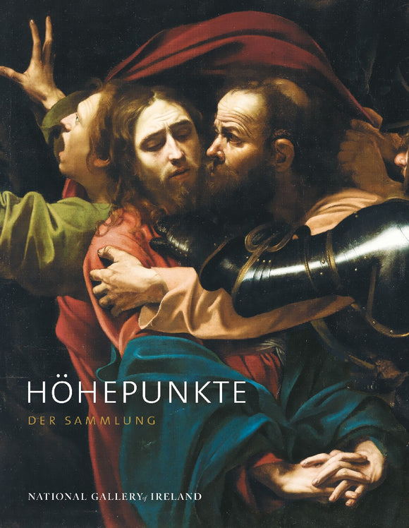 A painting of three men. Judas leans forward to kiss the cheek of a passive Jesus, while a man flees to the left. An armour clad arm reaches out to grab Jesus. The title is on the bottom left in white and yellow.