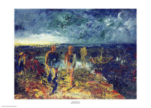 An expressionist painting with visible brush strokes and paint texture of three people moving towards the viewer after leaving a small boat. The sky and sea are dark blue while the men and land are strokes of red, yellow and orange. The painting is surrounded by a white border with its name and painter at bottom centre.