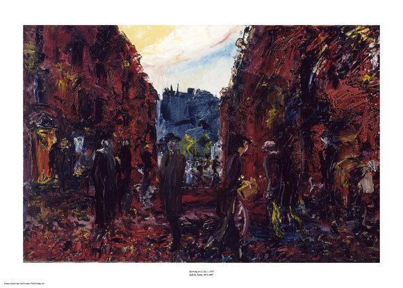 An expressionist painting with visible brush strokes and paint texture of a street scene with multiple people going about their day and dark red buildings along the side. The painting is surrounded by a white border with its name and painter at bottom centre.