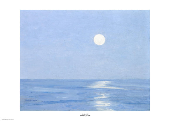 A clear blue sky takes up two thirds of the painting with a small moon just right of centre. The lower third is a darker blue sea with the moon reflected on the surface. The painting is surrounded by a white border with its name and painter at bottom centre.