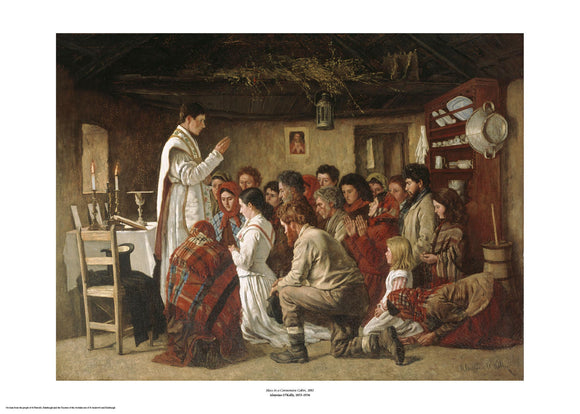 Inside a cottage a young priest in white has his hand raised in blessing over a group of people who kneel before him. They appear to be a wide range of ages and are dressed as typical peasants of the time. The painting is surrounded by a white border with its name and painter at bottom centre.