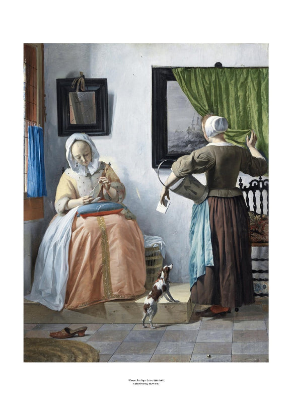 On the left woman in a peach and yellow sits reading a letter she has tilted towards the window to better see. On the right a maid stands with her back to the viewer pulling back a green curtain from a painting. The painting is surrounded by a white border with its name and painter at bottom centre.